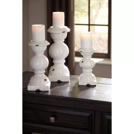 alissa rustic 3 piece glazed ceramic candlestick set