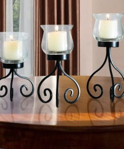 allison 3 piece free standing metal candelabras set