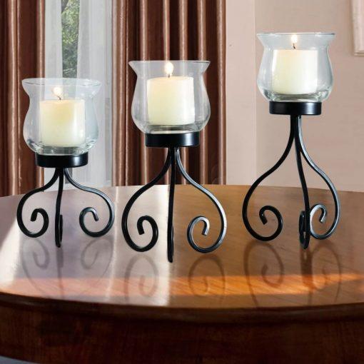 allison 3 piece free standing metal candelabras set