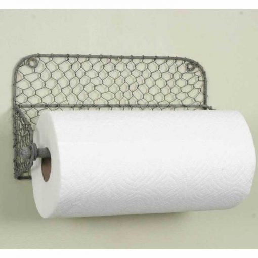 allison rustic wall paper towel holder with chicken wire