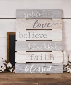 amarissa charming beige skid sign grateful love believe thankful faith blessed wall décor