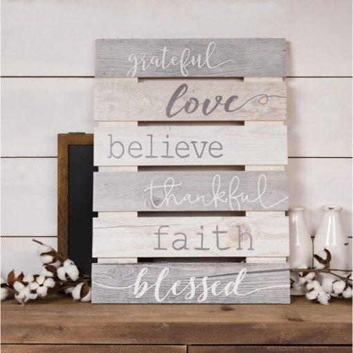 amarissa charming beige skid sign grateful love believe thankful faith blessed wall décor