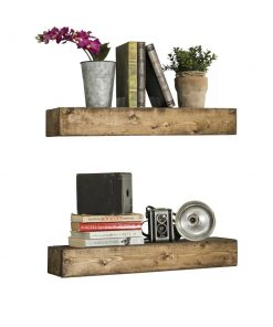 ambrose 2 piece solid wood wall shelf set