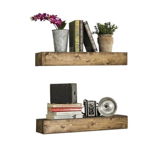 ambrose 2 piece solid wood wall shelf set