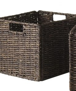 amelia 4 piece corn husk wicker basket set with built in handles