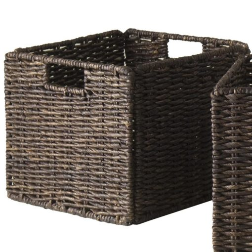 amelia 4 piece corn husk wicker basket set with built in handles