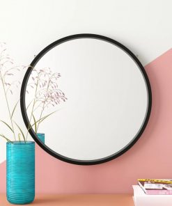 amelie round wood frame accent wall mirror