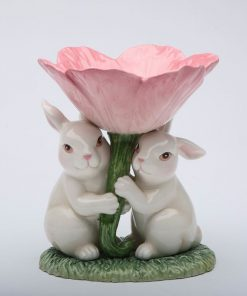 amira-green-bunnies-flower-ceramic-candlestick