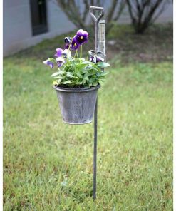 amira iron spade garden stake planter with rain gauge