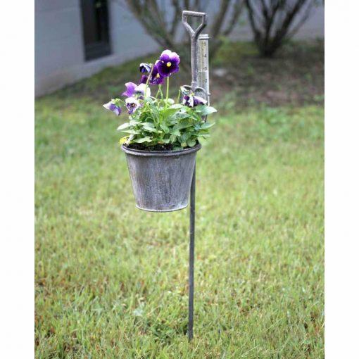 amira iron spade garden stake planter with rain gauge