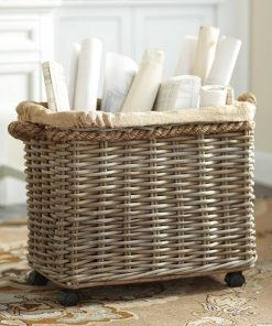 analise gray wheeled rattan basket