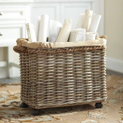 analise gray wheeled rattan basket