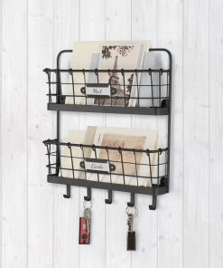 anastasia 2 tier metal letter holder organizer with wall baskets