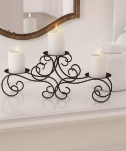 andromeda 3 pillar candles scroll black iron candelabra