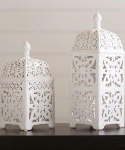 anihera white 2 piece ceramic lantern set