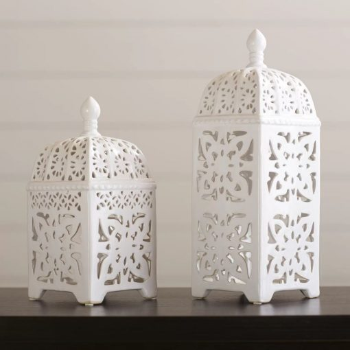 anihera white 2 piece ceramic lantern set