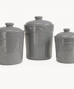 anista gray stoneware kitchen canister set of