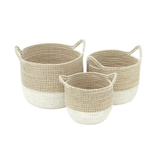 annie 3 piece round seagrass basket set