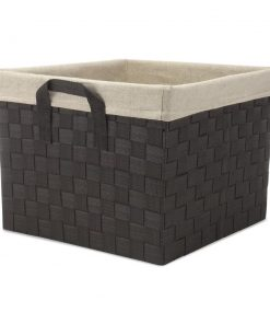 antoinette espresso woven wicker basket with liner