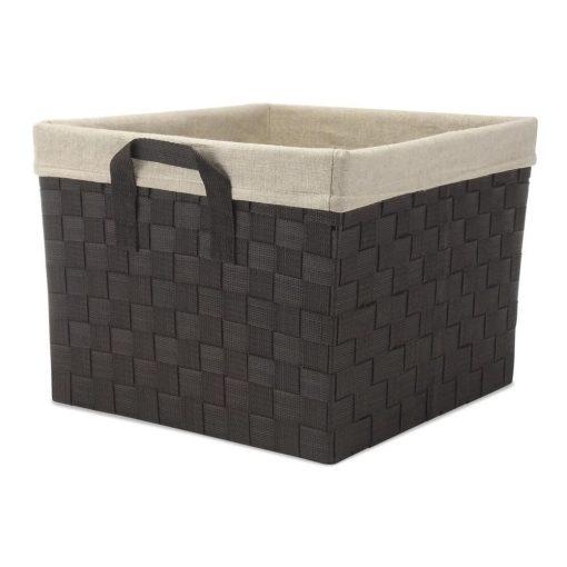 antoinette espresso woven wicker basket with liner