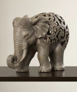 antonella gray resin elephant jail figurine