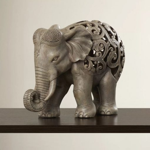 antonella gray resin elephant jail figurine