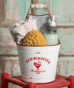 antonella portable red rooster bucket caddy