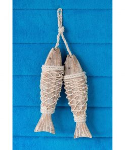 aragona handcrafted hanging wood fish in net wall décor