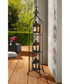 arden metal three tier stand with 3 hanging lantern set