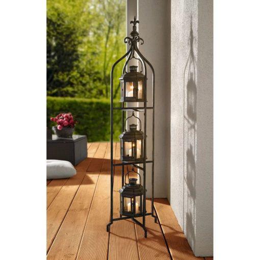arden metal three tier stand with 3 hanging lantern set