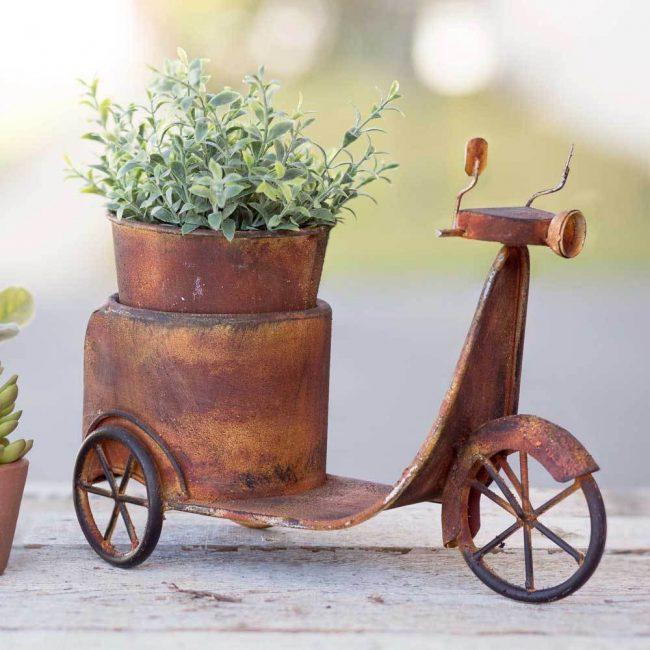 astra mini rusty scooter planter