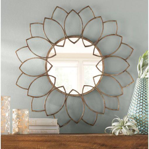 auden metal blooming flowers accent mirror