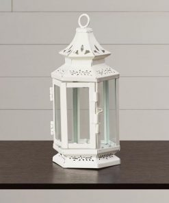 augustina white charming iron and glass lantern