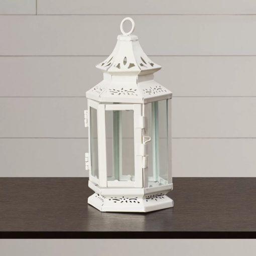 augustina white charming iron and glass lantern