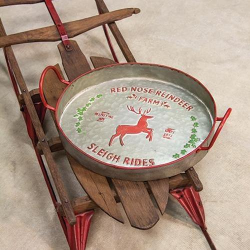 aurora red nose reindeer metal tray with two carrying handles