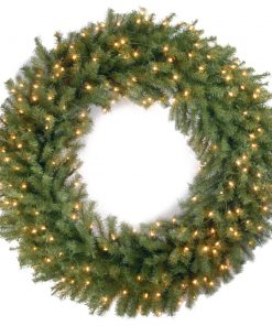 azure artificial lighted plastic wreath