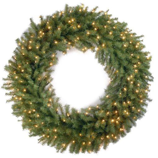 azure artificial lighted plastic wreath