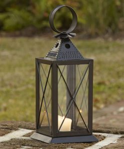 azure brown clear glass sides and x shaped overlay lantern