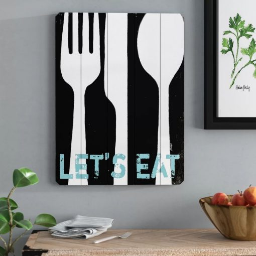 bailey cute let us eat graphic art print on wood wall décor