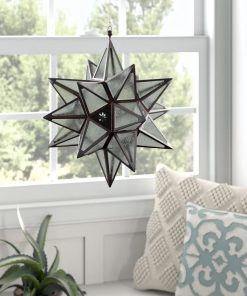 bailey hanging star iron and glass lantern
