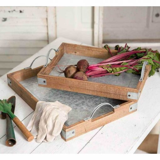 beatri wood and metal garden party trays set of