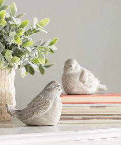 billie 2 piece gray ceramic bird statue set