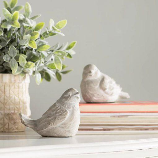 billie 2 piece gray ceramic bird statue set