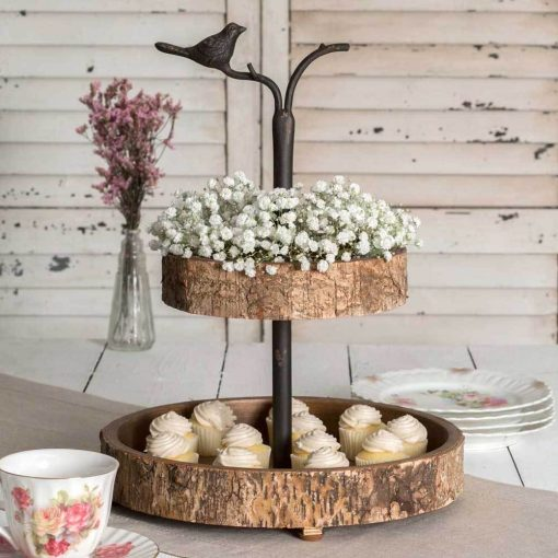 bonjour wood bird and birch two tiered tray