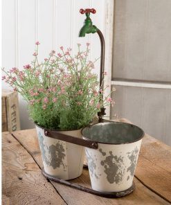 brylie rustic double bucket faucet planter