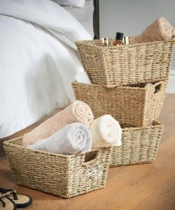 caia 4 piece beige storage rattan basket set