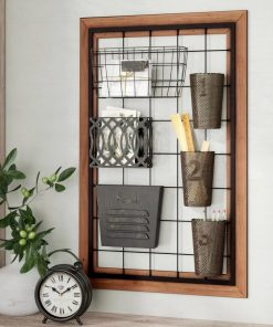 caila metal wall storage organizer with 6 pieces baskets