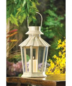 caitlyn tapered shape iron and glass lantern