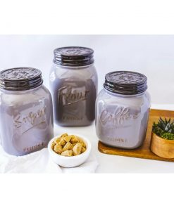 calais ceramic kitchen canister flour coffee tea and sugar set of