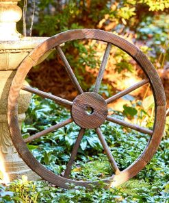 calais wooden wagon wheel trellis wall decor